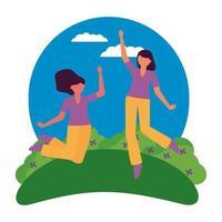 Happy women friends vector design