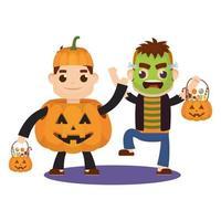 little kids in Halloween costumes