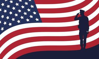 officer military silhouette with usa flag vector