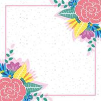 flowers and leaves decorative square frame vector