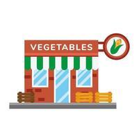 pequeña tienda de verduras escena de la fachada del edificio