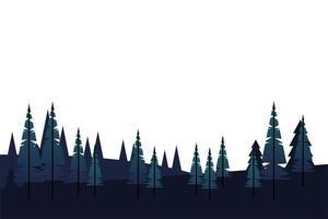 winter season landscape scene with pine forest