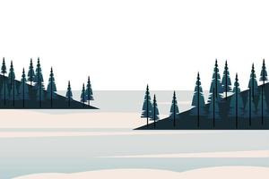 winter season landscape scene with pine forest and lake