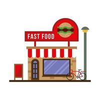 little fast food store building facade vector