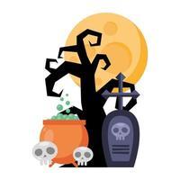 dark tree with cauldron and graveyard halloween icons vector