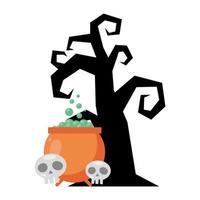 dark tree with cauldron and skulls halloween icons vector