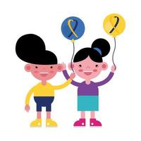 kids with balloons with down syndrome ribbons