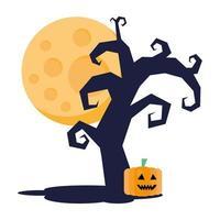 dark tree halloween with full moon and pumpkin vector