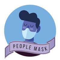joven, llevando, médico, máscara, protección, en, marco azul vector