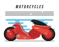 moto futurista roja y letras vector