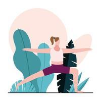 mujer joven, practicar, gimnasia vector
