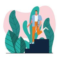 man with crutches walking down stairs vector