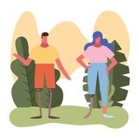 couple with leg prosthesis vector