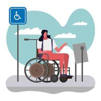 woman in wheelchair on sidewalk vector