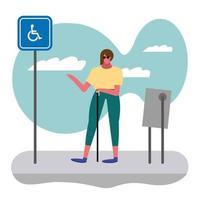 blind woman walking down the street