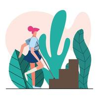woman with crutches approaching stairs vector