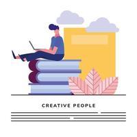 joven, usar la computadora portátil, sentado, en, libros vector