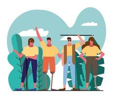 group of people with handicaps in the park vector
