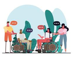 group of interracial people with handicaps vector