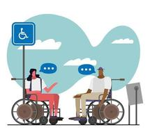 couple in wheelchairs talking vector