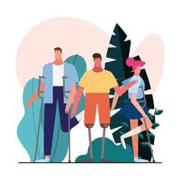 group of people with handicaps in the garden vector