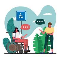 Mujer ciega y mujer en silla de ruedas hablando en el parque vector