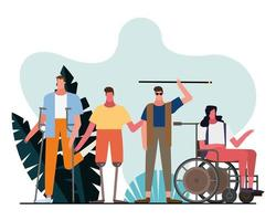group of handicapped characters together in a park vector