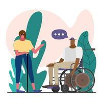Mujer ciega y hombre en silla de ruedas hablando en el parque vector