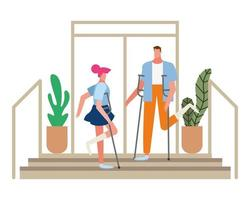 couple with crutches walking down steps vector