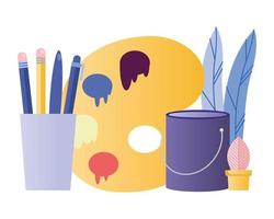 pencils, paint, and paint palette