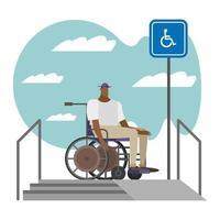 black man in wheelchair on ramp vector