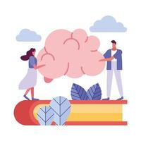 young couple on book lifting brain vector