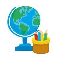 lápices de colores en taza con globo escolar vector