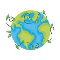 Ecología del planeta tierra con rama y hojas.