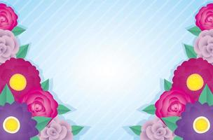 flowers and leaves decorative frame vector