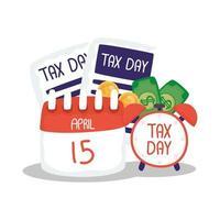 día de impuestos 15 de abril calendario con diseño de vector de reloj y documento