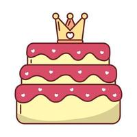Love heart inside crown over cake vector design