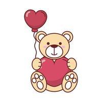 oso de peluche con diseño de vector de globo de corazón