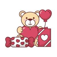 Teddy bear with card, candy and heart balloon vector design