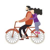 Pareja de mujer y hombre en diseño de vector de bicicleta