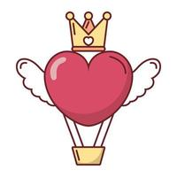 Love heart hot air balloon with wings and crown vector design