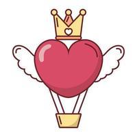 Amor corazón globo de aire caliente con alas y diseño de vector de corona