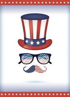Usa hat glasses and mustache vector design