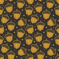Golden colored acorns. Seamless pattern texture background. Plant forest nature. vector