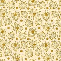 Physalis winter cherry seamless pattern texture background.