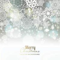 Snowflake background on silver.