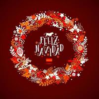 Christmas wreath in colors of a flag of Spain with an inscription in Spanish language vector