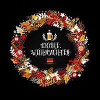 corona de navidad en colores de una bandera de alemania vector