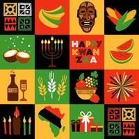 Banner for Kwanzaa with traditional colored and candles representing the Seven Principles or Nguzo Saba. Collgage style. vector