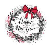 Hand drawn new years wreath with red bow and calligraphic text